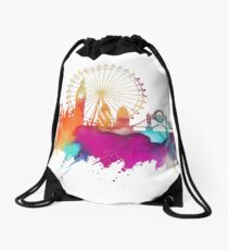 London skyline watercolor Drawstring Bag