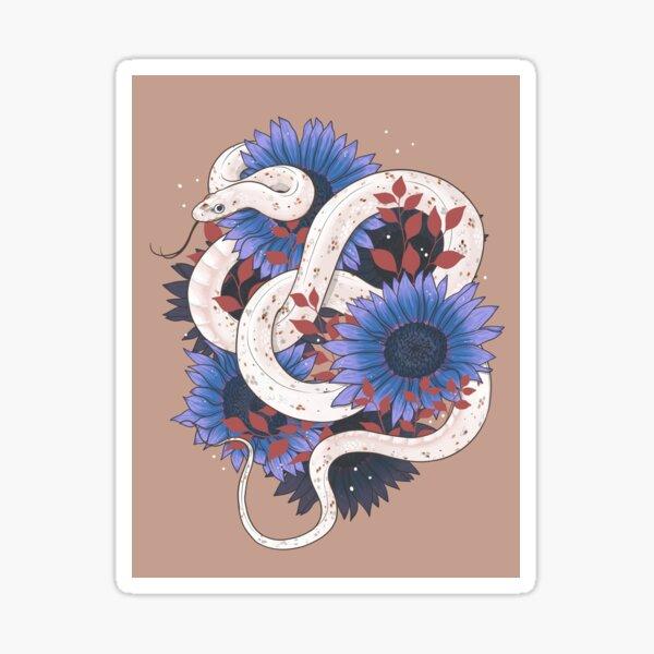 Palmetto Corn Snake with Blue Sunflowers Sticker