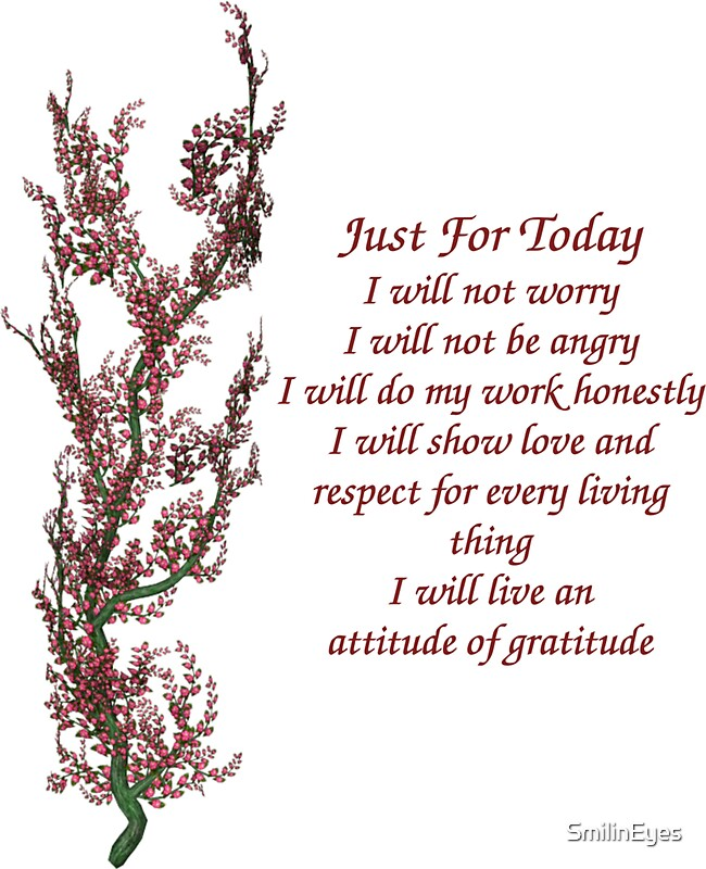 "Just For Today Quotes Custom Just For Today Inspirational Quote Flowering Tree"" Stickers."