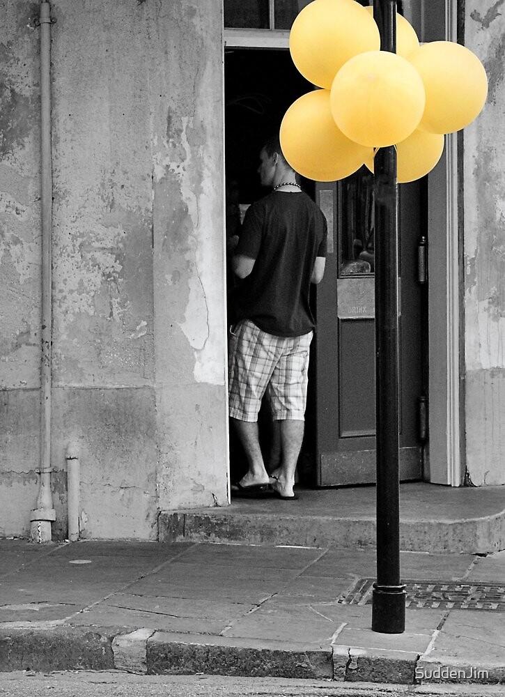 Yellow Balloons On Bourbon Street by SuddenJim