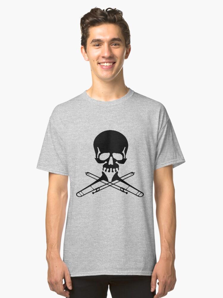 Skull with Trombone Crossbones Classic T-Shirt Front