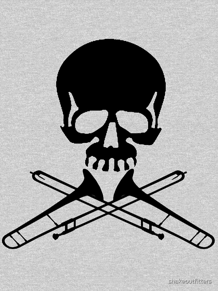 Skull with Trombone Crossbones by shakeoutfitters