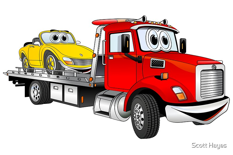 Quot Red Tow Truck Flatbed Cartoon Quot Photographic Prints By