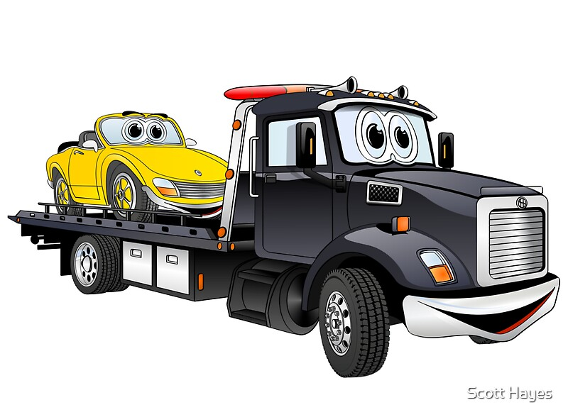 Quot Black Tow Truck Flatbed Cartoon Quot By Graphxpro Redbubble