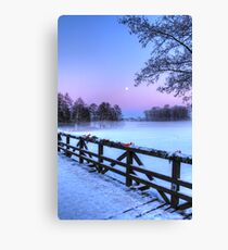 Moon Over Misty Frozen Lake Canvas Print