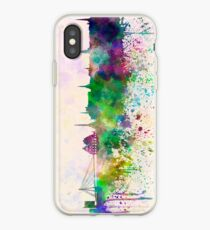 Riga skyline in watercolor background iPhone Case