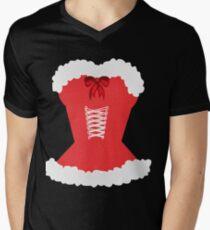 red santa corset christmas corset Mrs Claus Men's V-Neck T-Shirt
