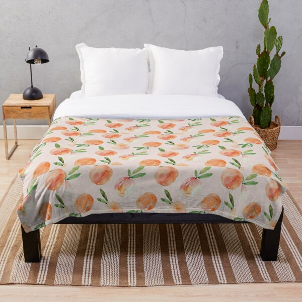 Watercolor Peaches Throw Blanket