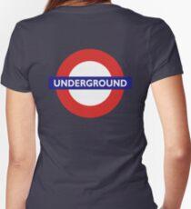 UNDERGROUND, TUBE, LONDON, GB, ENGLAND, BRITISH, BRITAIN, UK on BLACK Women's Fitted V-Neck T-Shirt