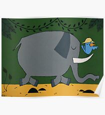 Elephants and Hunters Poster