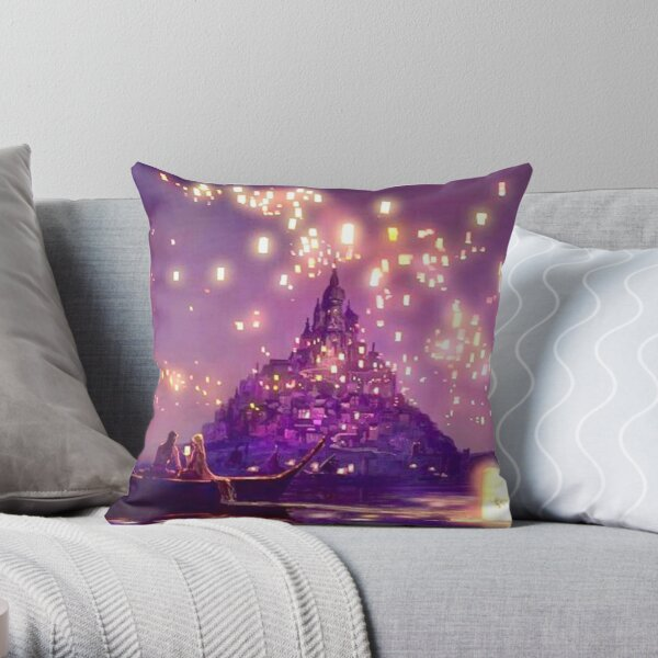 Glowing Castle Print Throw Pillow