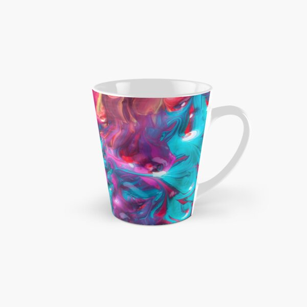 Bold Rainbow Colorful Deep BlueTurquoise Aqua Orange Yellow Ombre Waves Abstract Acrylic Painting Tall Mug