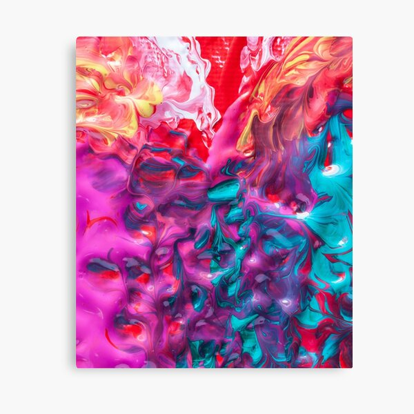 Bold Rainbow Colorful Deep BlueTurquoise Aqua Orange Yellow Ombre Waves Abstract Acrylic Painting Canvas Print