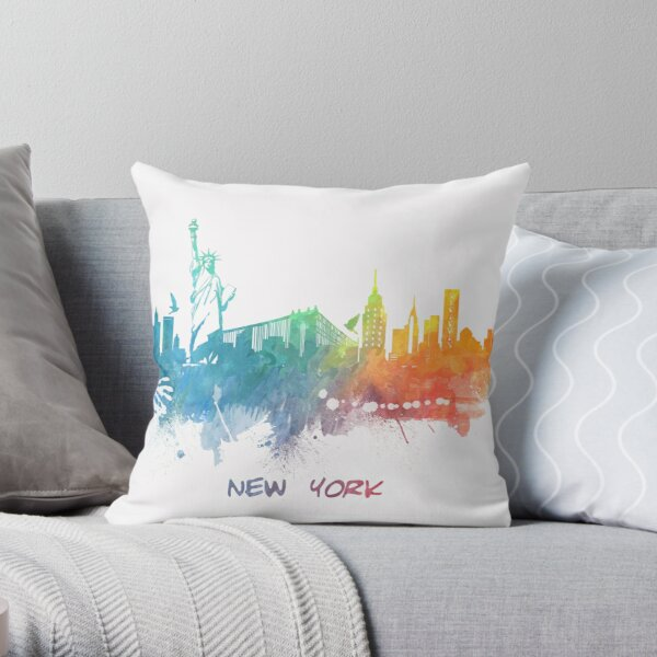 New York City skyline colored Throw Pillow