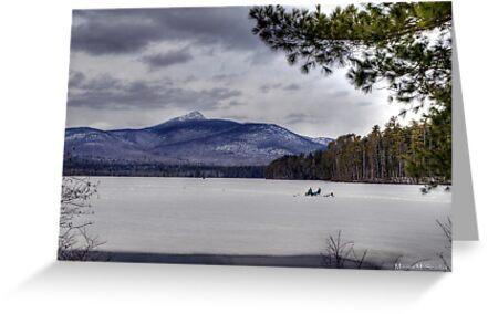 Ice Fishing on Lake Chocorua by Monica M. Scanlan