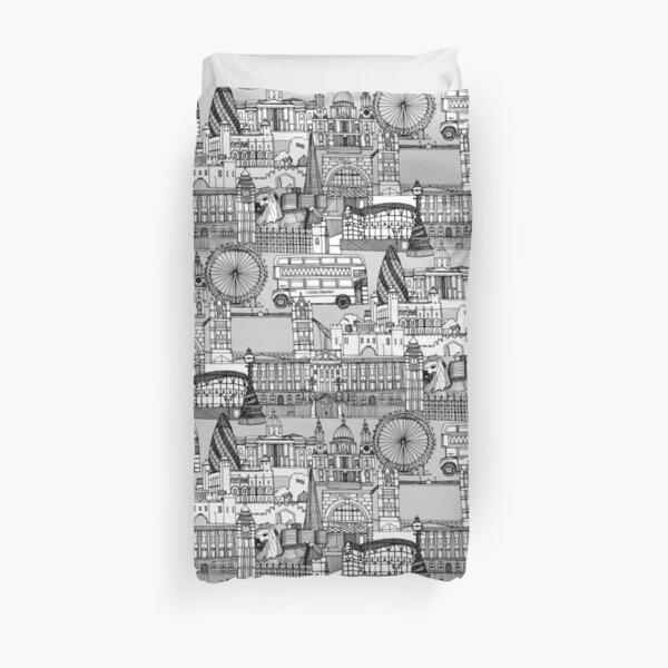 London toile black white Duvet Cover