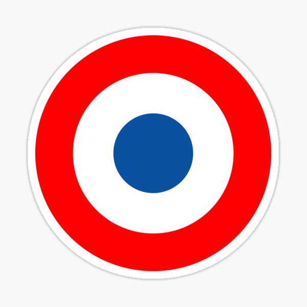 Roundel, Tricolore, cockade, French, Air Force, Bullseye, combat, aircraft, First World War. Sticker