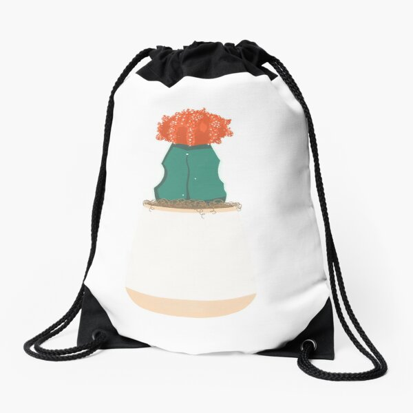 Ruby Ball Cactus, Moon Cactus, Red Top Cactus Drawstring Bag