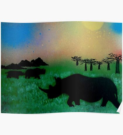 Rhinos in the sunset Poster