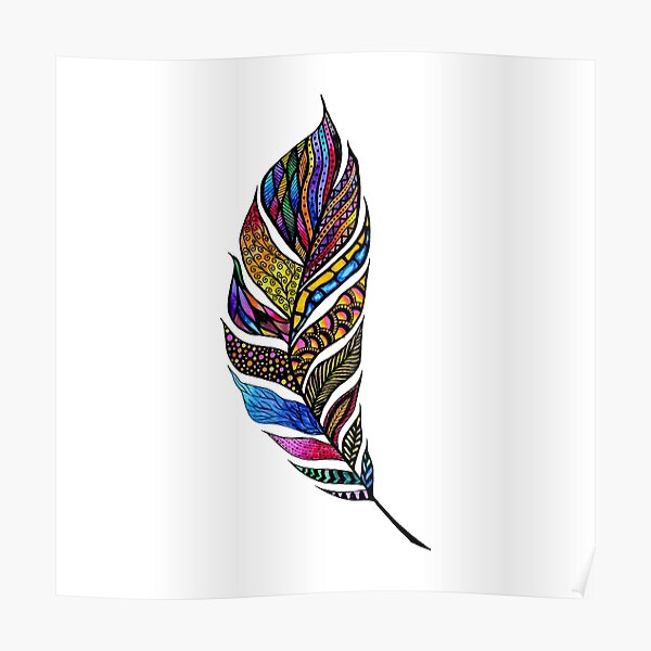 Colorful Watercolor Hand Drawn Tangle Feather Poster