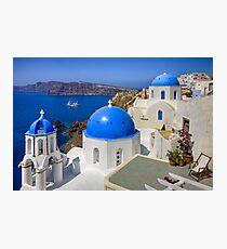 Oia, Santorini, and the Blue Domes Photographic Print