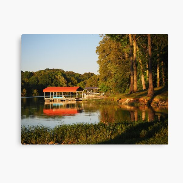 Red roof on a dock Canvas Print