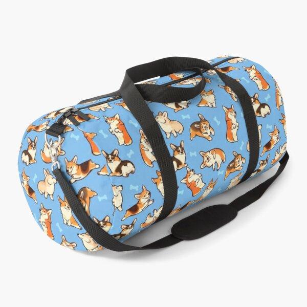 Jolly corgis in blue Duffle Bag