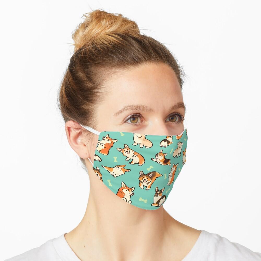 Jolly corgis in green Mask