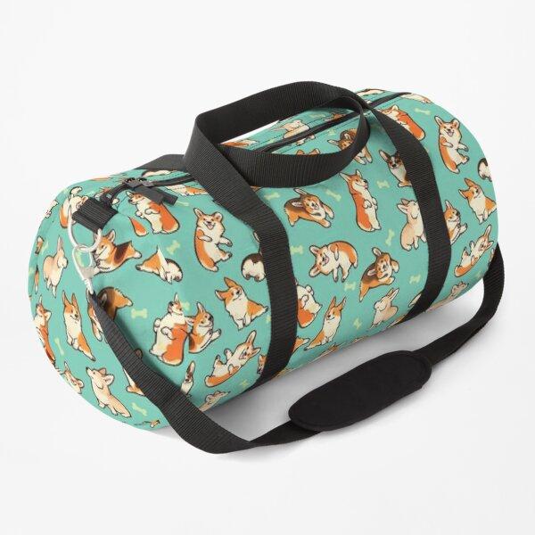 Jolly corgis in green Duffle Bag