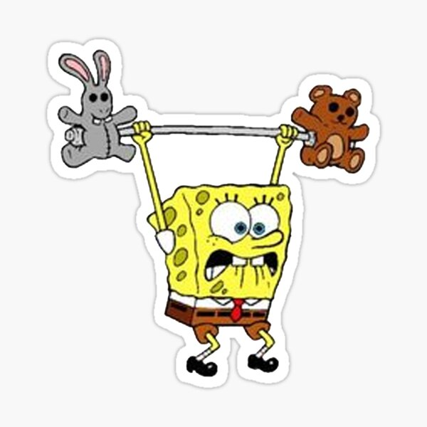 Spongebob Lifting Weights Sticker