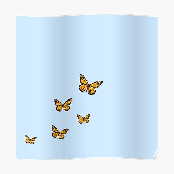 sky blue butterfly print Poster