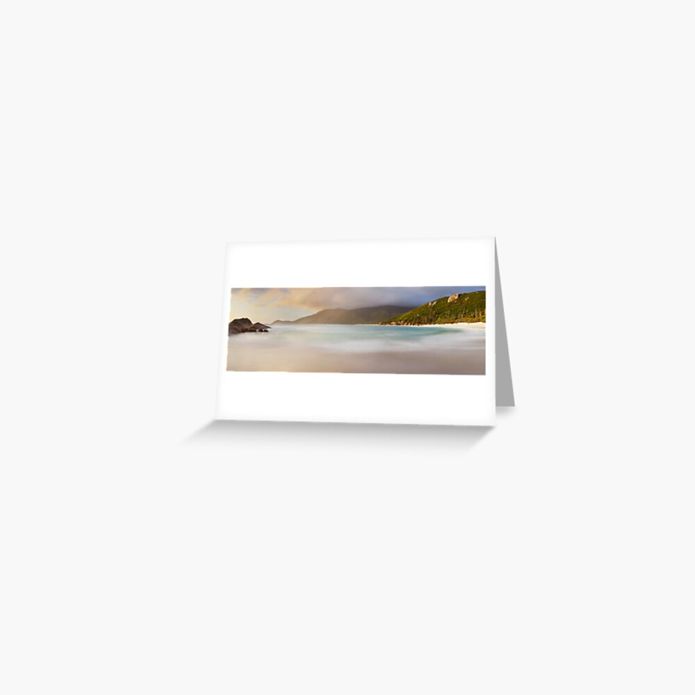 Dawn greets Little Waterloo Bay, Wilsons Promontory, Victoria, Australia Greeting Card