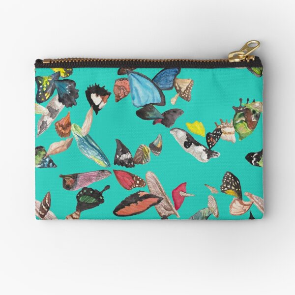 Bright Blue Swirling Wings Zipper Pouch