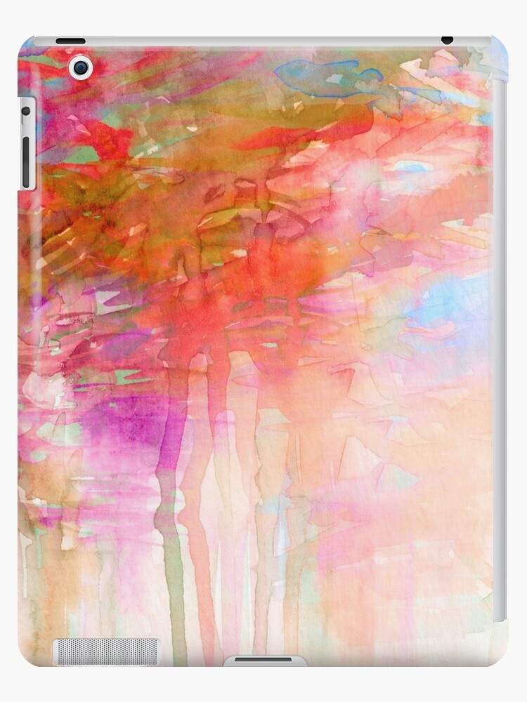 d7f3eb0a20631 'CARNIVAL DREAMS 2 Girly Tangerine Orange Peach Aqua Pastel Sky Whimsical  Clouds Abstract Watercolor Painting' iPad Case/Skin by EbiEmporium