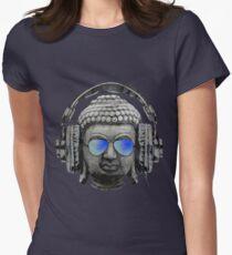 Cool Headphones Hip Hop Groove Buddha Banksy  Women's Fitted T-Shirt