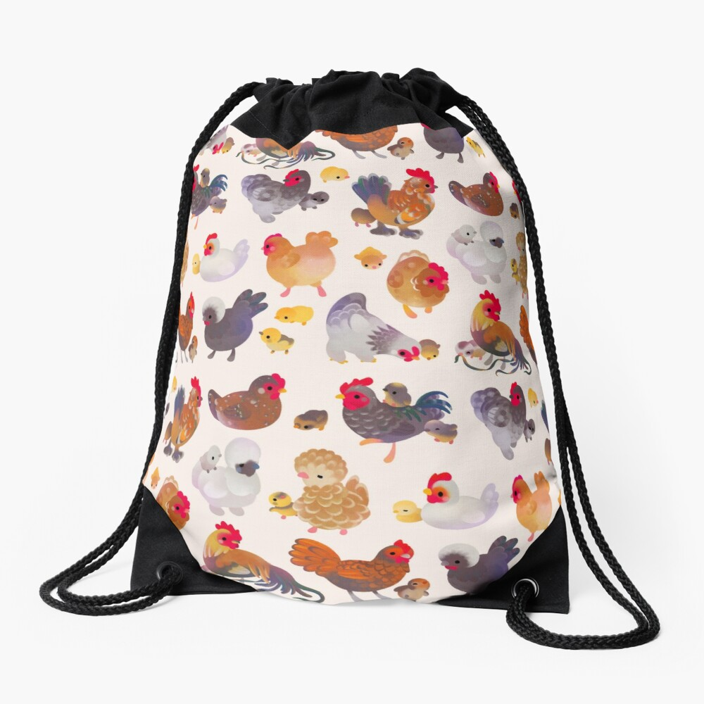 Chicken and Chick Drawstring Bag