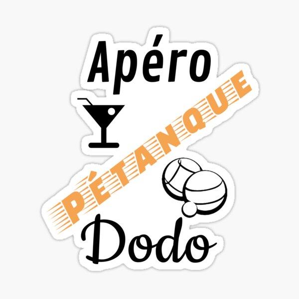 t shirt petanque apero petanque dodo humour cadeau libellé orange noir pour fond blanc Sticker