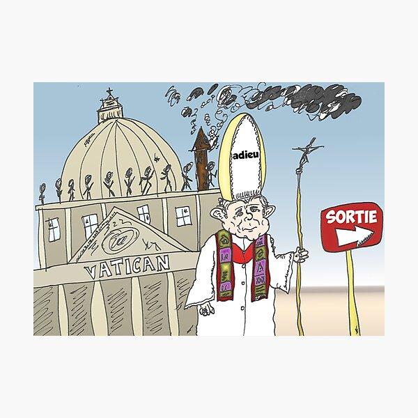 Pape Benoit XVI quitte le Vatican caricature Photographic Print