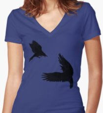 Battle of the Birds Women's Fitted V-Neck T-Shirt