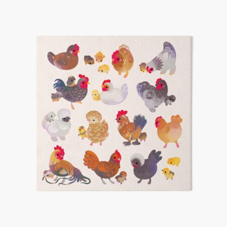 Chicken and Chick Art Board Print
