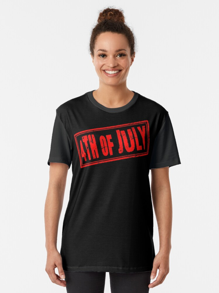 Alternate view of 4th of July (Vintage Retro Stamp • Independence Day) Graphic T-Shirt