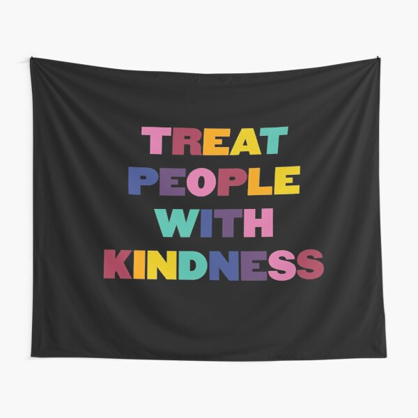 Rainbow Treat People With Kindness - HS (black) Tapestry