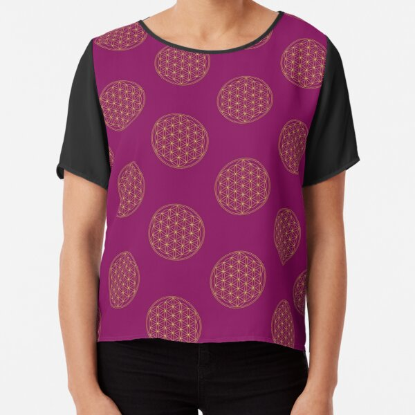 Flower of life, Sacred Geometry, Gold, Healing and Energizing Chiffon Top