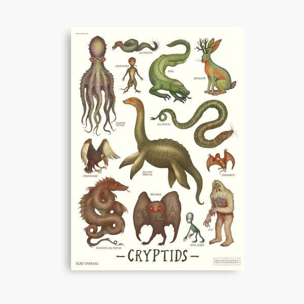 Cryptids, Cryptozoology species Canvas Print