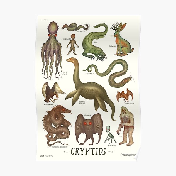 Cryptids, Cryptozoology species Poster