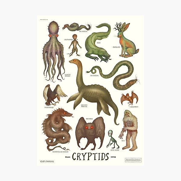 Cryptids, Cryptozoology species Photographic Print