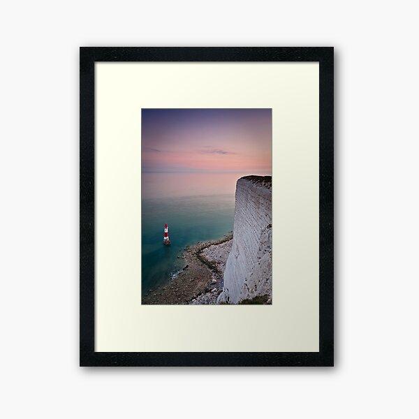 Beachy head lighthouse sunset Framed Art Print