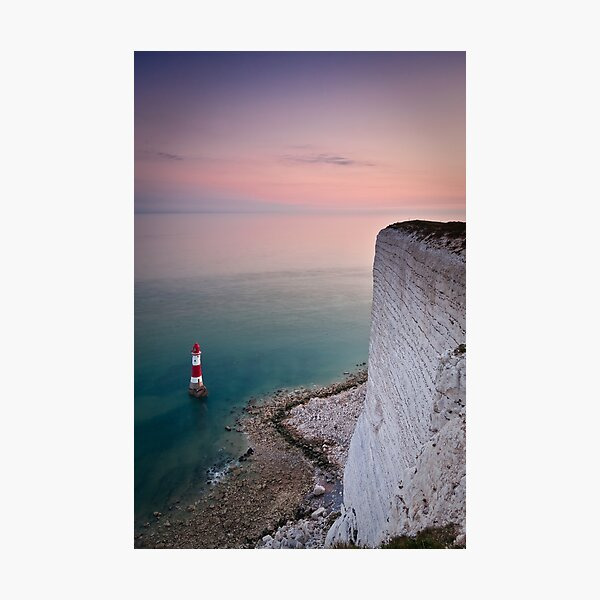 Beachy head lighthouse sunset Photographic Print