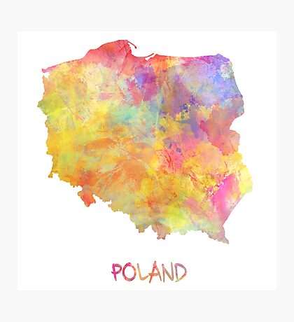 Poland map watercolor Photographic Print