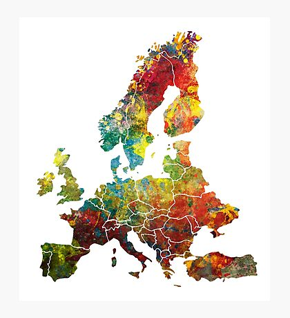 Map of the Europe Photographic Print